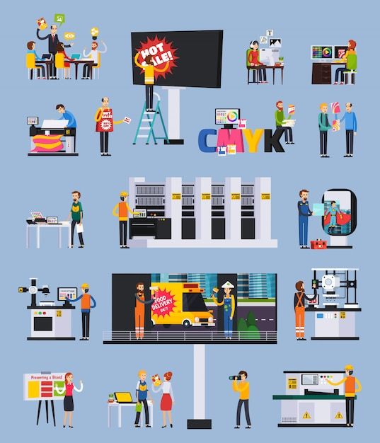 Advertising agency production orthogonal flat elements set with designers projects presentation billboard ads printing installation illustration Free Vector