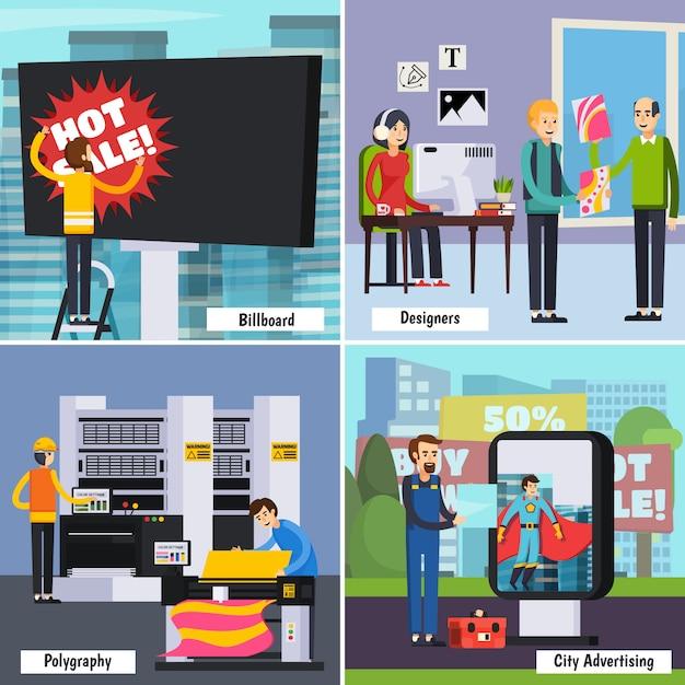 Insieme di composizione isometrica di servizi di agenzia pubblicitaria Vettore gratuito