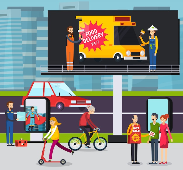 Advertising agency workers placing ad poster on large outdoor billboard in busy city street orthogonal illustration Free Vector