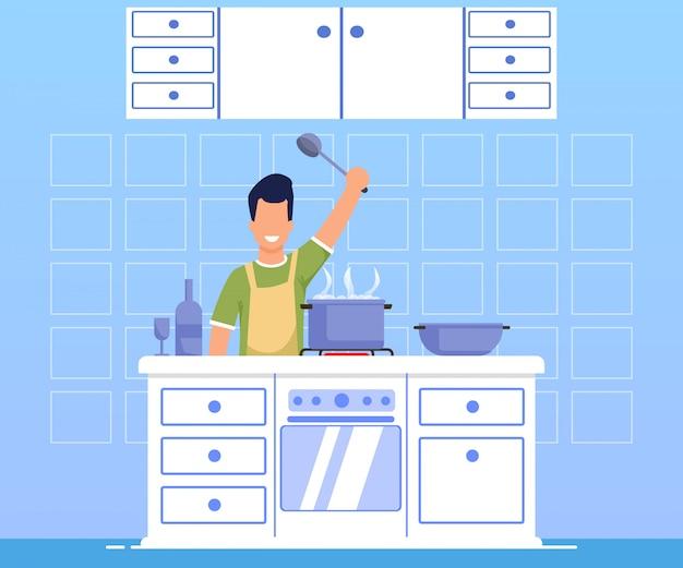 Advertising banner cooking dinner cartoon flat. Premium Vector