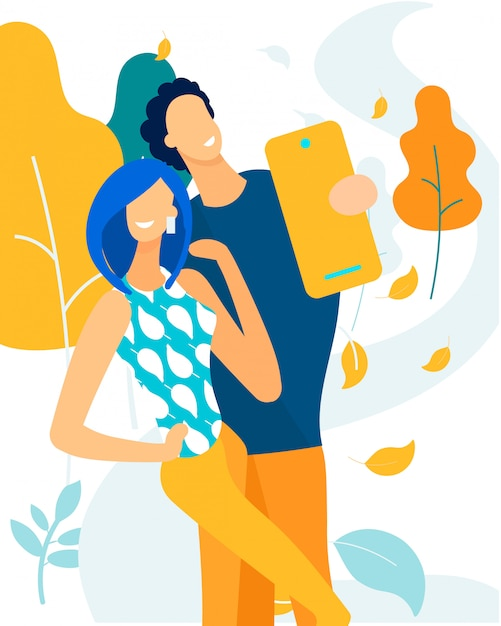 Advertising banner husband and wife take selfie. Premium Vector