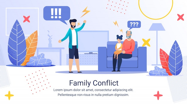 Advertising banner inscription family conflict. Premium Vector