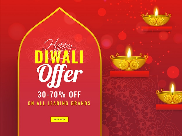 Advertising banner or poster  with illuminated golden oil lamp (diya) and 30-70% discount offer for happy diwali sale. Premium Vector