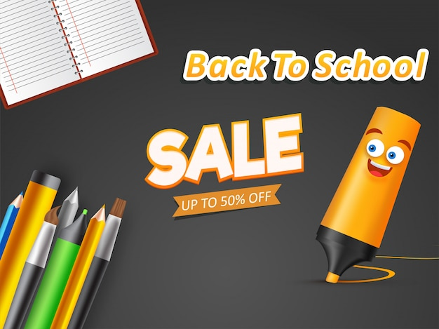 Advertising banner or poster with school supplies element Premium Vector