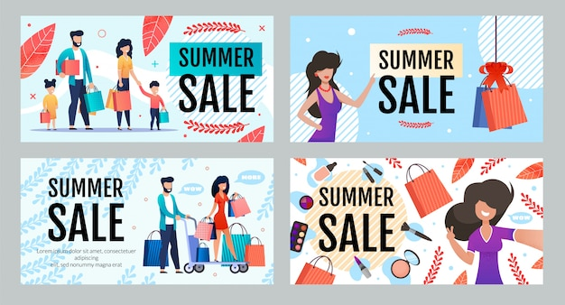 Advertising banner set offering seasonal summer sale and discount Premium Vector