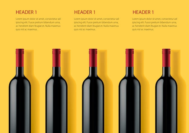 黄色の背景にアルコール製品の広告バナーテンプレート。 Premiumベクター