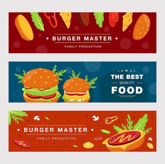 패스트 푸드 배달에 대 한 설정 광고 배너 템플릿입니다. 무료 벡터