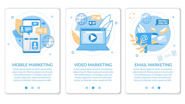 Advertising banner video email mobile marketing. Premium Vector
