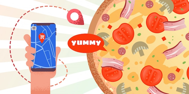 Advertising banner with app online pizza order Premium Vector