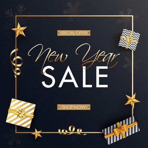 새 해 판매를위한 선물 상자와 황금 별 상위 뷰 광고 배너. 프리미엄 벡터