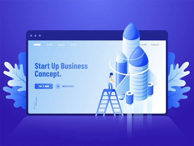 Advertising blue website landing page design, 3d illustration of human standing on ladder with rocket for start up business concept. Premium Vector