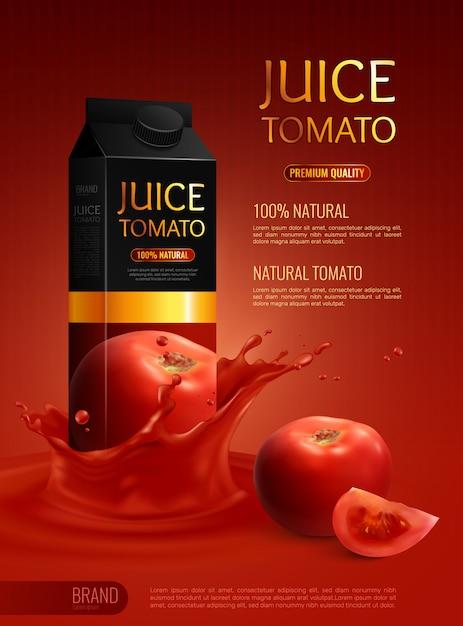 Рекламная композиция с пакетом натуральных томатных соков реалистично Бесплатные векторы