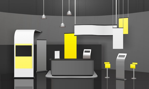 Advertising exhibition stand 3d mockup Free Vector