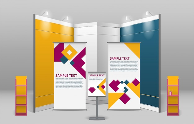 Exhibition Stand Advertising : Advertising exhibition stand design vector free download