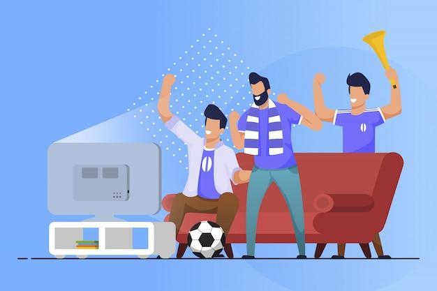 Advertising flyer sports fans at home cartoon flat Premium Vector