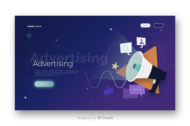 Advertising landing page Free Vector