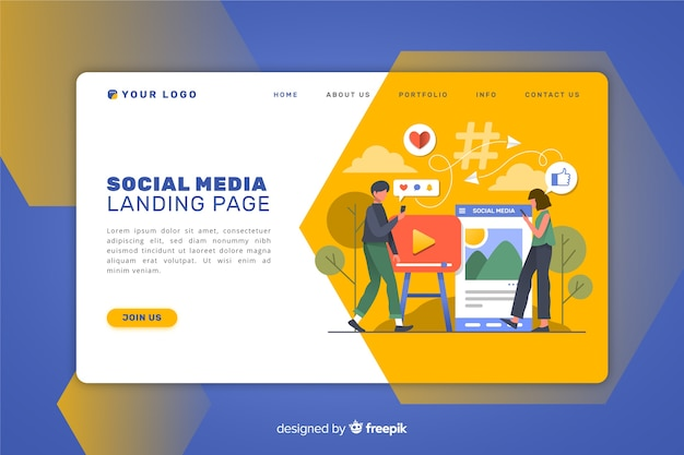 Advertising landing page Free Vector