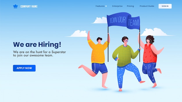 Advertising male and female holding banner for join our team of we are hiring job vacancy. landing page or web design. Premium Vector