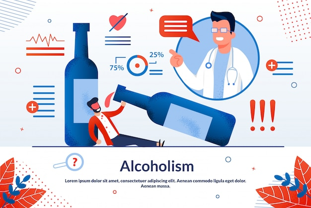 広告ポスターアルコール依存症レタリング漫画。 Premiumベクター