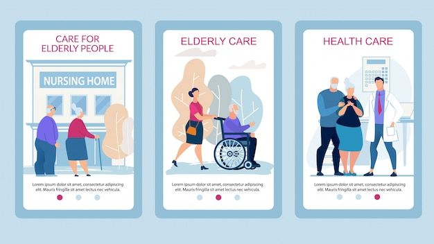 Advertising poster care for elderly people flat. Vector ...