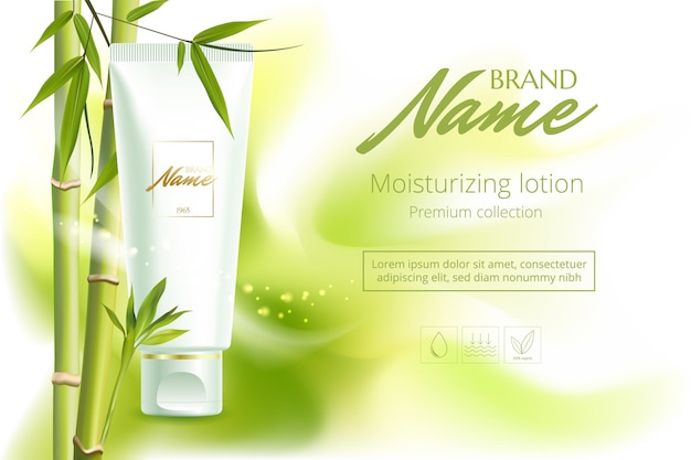 Advertising poster for cosmetic product for catalog, magazine.    cosmetic package.moisturizing cream, gel, body lotion with green tea extract . Premium Vector