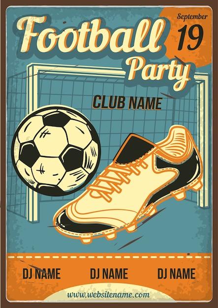 Cartellonistica pubblicitaria con illustrazione di uno stivale, una palla e una porta da calcio Vettore gratuito