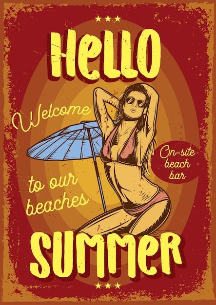 Cartellonistica pubblicitaria con illustrazione di una ragazza sulla spiaggia Vettore gratuito
