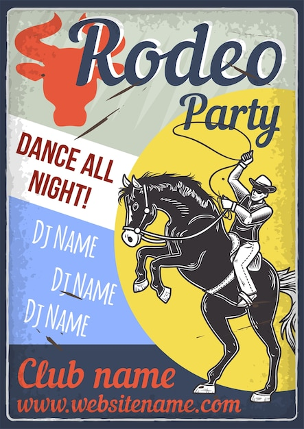 Advertising poster design with illustration of a horse and a rider Free Vector