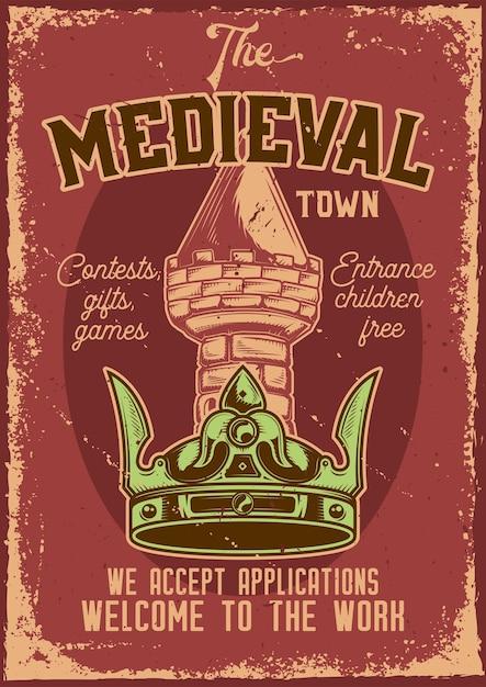 背景に塔のある王冠のイラストと広告ポスターデザイン。 無料ベクター