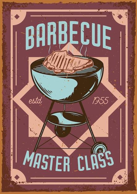 Дизайн рекламного плаката с изображением гриля и мяса на нем Бесплатные векторы