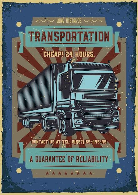 大型トラックのイラストと広告ポスターデザイン 無料ベクター