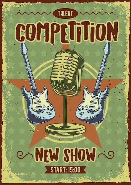 마이크와 기타의 일러스트와 함께 광고 포스터 디자인 무료 벡터