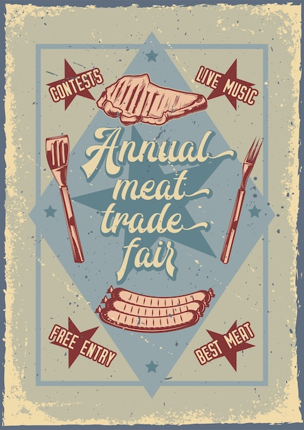 Дизайн рекламного плаката с изображением жареного мяса Бесплатные векторы