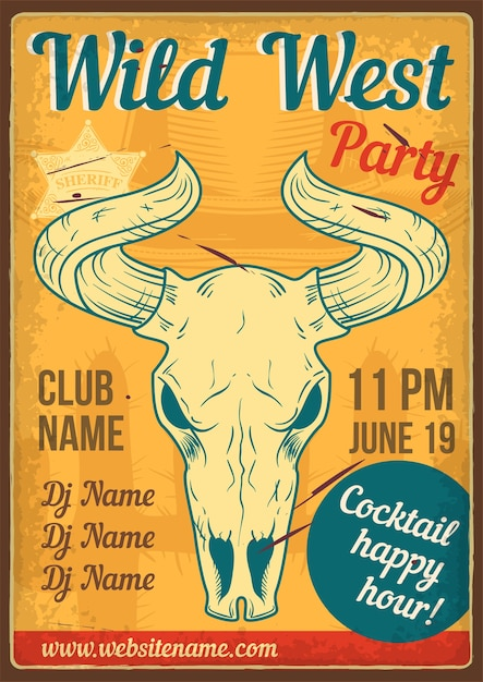 Advertising poster design with illustration of a skull of a bull Free Vector