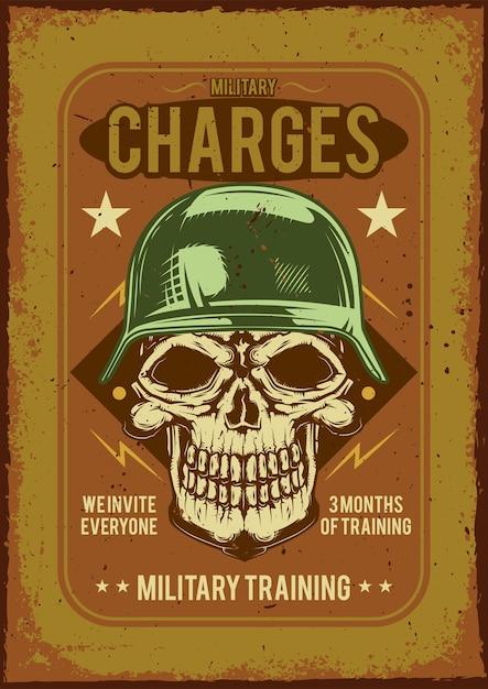 Cartellonistica pubblicitaria con illustrazione di un soldato su sfondo polveroso. Vettore gratuito