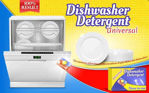 Advertising poster with dishwashing detergent, dishwasher machine with clean pla Free Vector