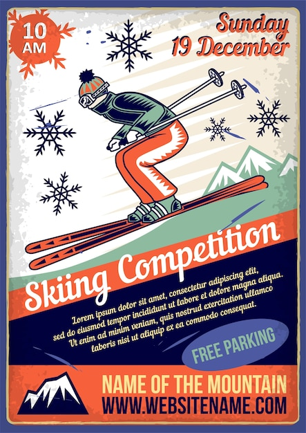 Manifesto pubblicitario con illustrazione di uno sciatore Vettore gratuito
