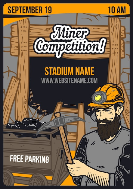 Advertising poster with miner and a mine Free Vector