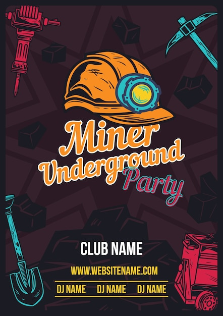 Advertising poster with miner's helmet and equipment on Free Vector