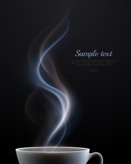 현실적인 검은 배경에 텍스트에 대 한 뜨거운 음료와 장소의 흰색 세라믹 김이 컵 광고 포스터 무료 벡터