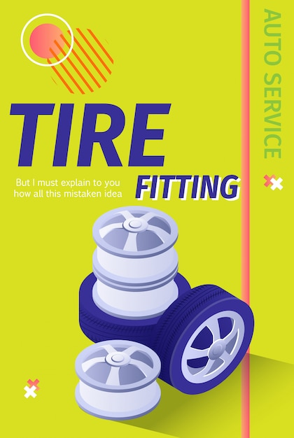 Advertising professional auto tire fitting. vector 3d illustration with editable text Premium Vector