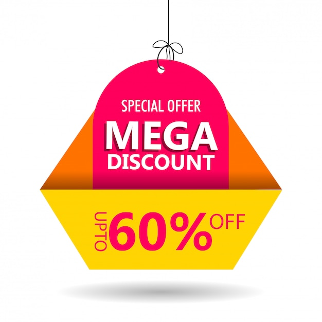 Advertising sale tag or label with 60% discount offer on white b Premium Vector