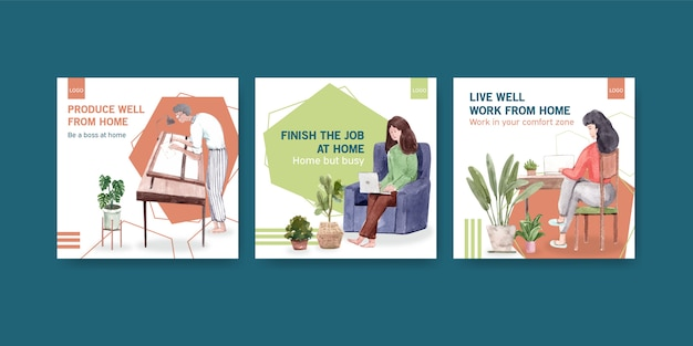 Advertising template design with people are working from home. home office concept watercolor vector illustration Free Vector
