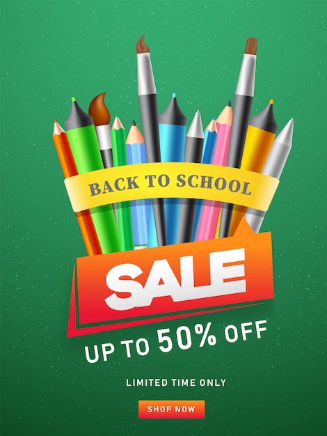 Advertising template or flyer design with colored pencil Premium Vector