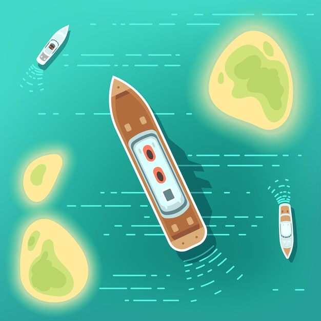 Aerial eye view sea boats and ship. part of ocean with tropocal islands and cruise ships Premium Vector