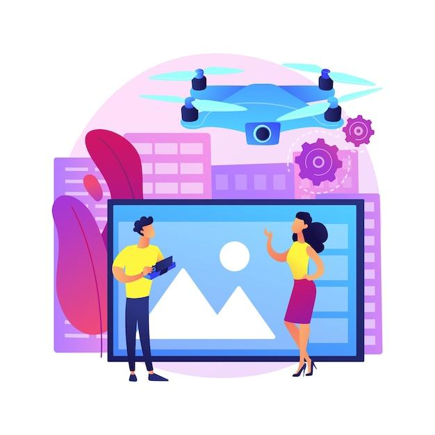 空中写真の抽象的な概念図。航空測量サービス、イベントのドローン写真、リモートセンシング技術、不動産広告。 無料ベクター