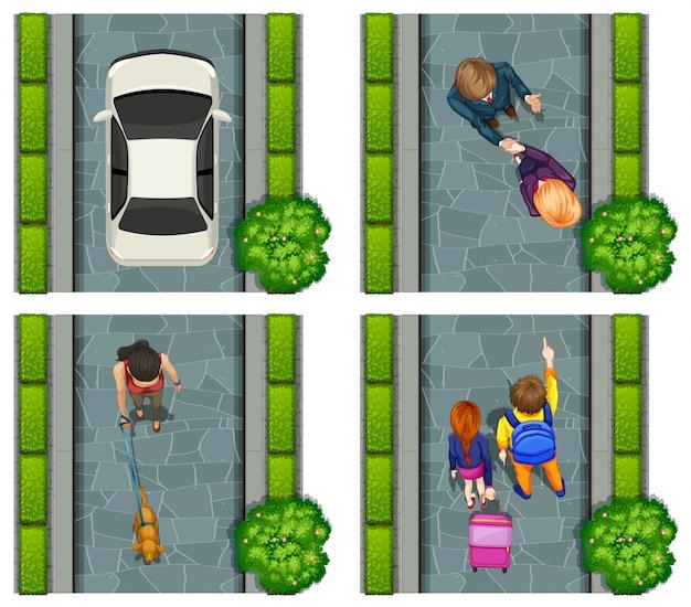 Aerial scene of people on the street\ illustration