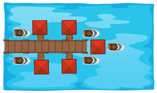 Aerial scene with bridge and boats Free Vector