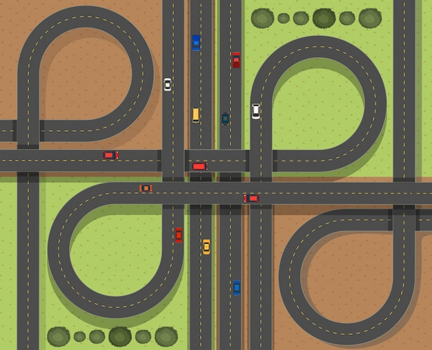 Aerial scene with cars on the roads Free Vector
