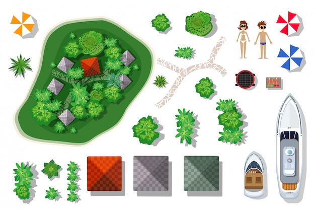 Aerial top view of an island paradise. set of elements Premium Vector